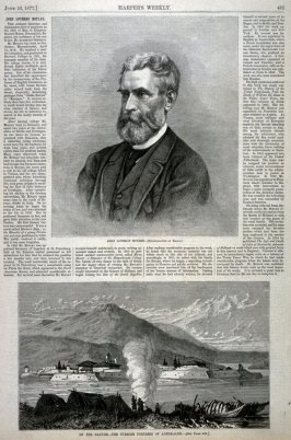 Portrait of John Lothrop Motley / On the Danube, the Turkish Fortress of Adehkaleh- from Harper's Weekly, (June 23, 1877), p. 481