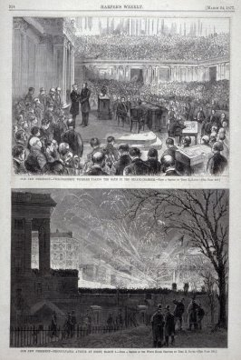 "Two images from ""our New President"" series, from Harper's Weekly (March 24, 1877), p. 224."