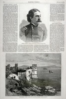 General Nelson A. Miles and The Marble Tower, Castle of the Seven Towers, Constantinople - from Harper's Weekly, (March 10, 1877) p. 184