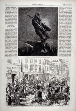 """The Freight-Train Brakeman and Helping the Poor-Gratuitous Distribution of Coal by the City - Scene in Cherry Street"""" from Harper's Weekly, (March 10. 1877), p. 192"""