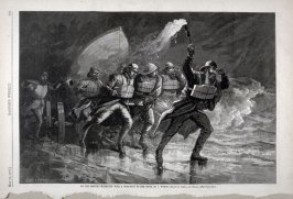 "To the Rescue- Hurrying with a surf boat to the scene of a wreck"" from Harper's Weekly,  (May 19, 1877), p. 385"