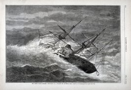 """The U.S.Steamer ""Powhatan"" in a cyclone off Hatteras"", from Harper's Weekly, (May 12, 1877), p. 379"