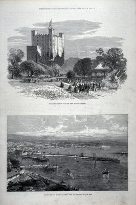 Rochester Castle and the New Public Gardens; Opening of the Queen's Landing Pier at Douglas, Isle of Man, from Supplement To The Illustrated London News (13 July 1872)