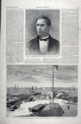 """Alonzo B. Cornell, Republican Candidate for the Governor of New York"" and ""The Buoy Station, Qurantine Landing, Staten Island"" Harper's Weekly (September 27. 1879), pp. 765 to 772"