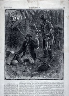 """Gret King! You don't call dat a Rabbit"" from Harper's Weekly, (April 10, 1880), pp. 229 & 230 and pp. 235 & 236"