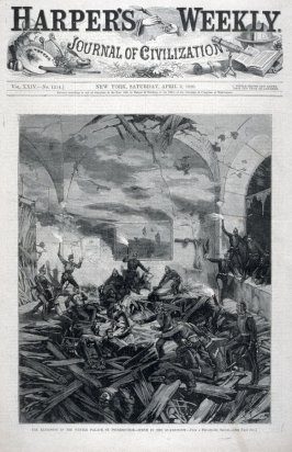 """""""The Explosion in the Winter Palace, St. Petersburgh - Scene in the Guard Room"""" -from Harper's Weekly (April 3, 1880)"""