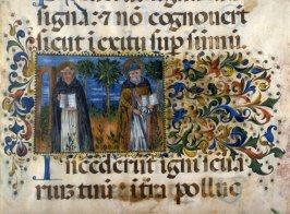 Parchment - Lower half of page from a Choral with miniature and decorative border