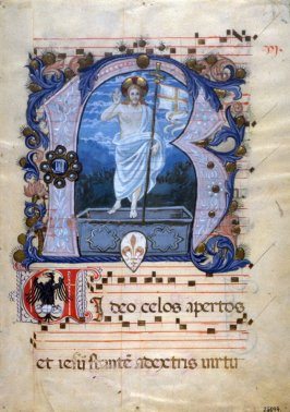 Parchment - Page from a Choral with miniature of the Resurrection of Christ