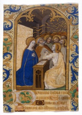 Parchment - Page from a Books of Hours Manuscript with miniature of Pentecost