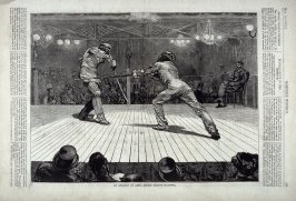 An Assault at Arms - Sword Versus Bayonet - from Harper's Weekly, (May 16, 1874), p. 421