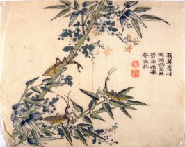 Insects in Bamboo - from: The Mustard Seed Garden Manual of Painting, Volume III (on Plants and Insects)