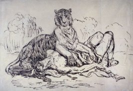 Lioness Devouring an Arab (late 19th century copy after Delacroix)