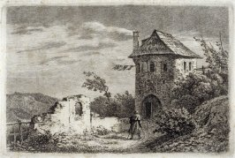 [Country-scene with man walking towards a house]