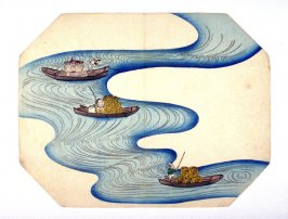 Untitled [Gods of Fortune poling rafts down a river]