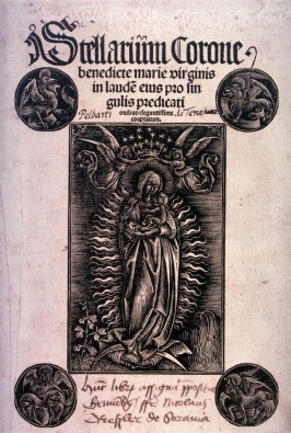 Virgin Crowned by Two Angels, title page to the book by Pelbartus de Temesvár, Stellarium Corone benedicte Virginis Marie... (The Virgin Mary's Crown of Stars...) (Augsburg: Johann Otmar, 1502)