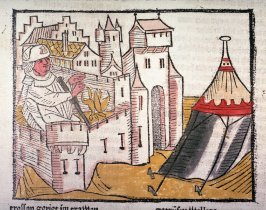 Wolfdietrich sits by the fire in the castle where his wife lives, from Das Heldenbuch (Strasbourg: Johann Prüss, 1479)