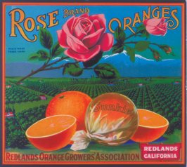 Rose Brand Oranges, Sunkist, Redlands Orange Growers Association, Redlands, San Bernardino Co., California