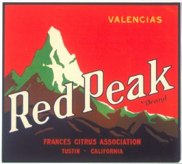 Red Peak Brand Valencias, Frances Citrus Association, Tustin, California