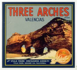 Three Arches Brand Valencias, The Villa Park Orchards Assn. Inc., Villa Park, Orange Co., California