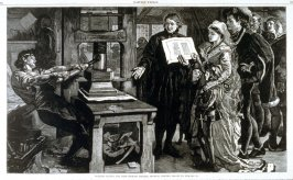 William Caxton, the first English printer showing printed proofs to Edward IV - from Harper's Weekly, (July 21, 1877), pp. 564 & 565