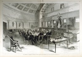 The Electoral Commission in Session etc. - from Harper's Weekly, (February 17. 1877), pp. 128 & 129.