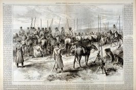 """A Cossack encampment near Galaatz, on the Danube- Trumpeter Sounding """"Boot and Saddle"""" - from Harper's Weekly, (July 7, 1877), pp. 534 & 535"""