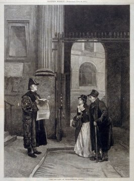 """The old lady of Threadneedle Street -  from Harper's Weekly, (June 23, 1877), pp. 494 & 495"
