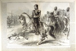 The War in the East - Abdul, Hamid II, Sultan of Turkey Reviewing His Troops - from Harper's Weekly, (May 26, 1877), pp. 418-9