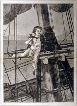Mast-headed - a middy in disgrace -  from Harper's Weekly, ( July 19, 1873), pp. 624 & 625