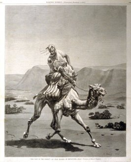 """The Post of the Desert""- An Arab Bearer of Dispatches - from Harper's Weekly, (December 2, 1876), pp. 982-3"