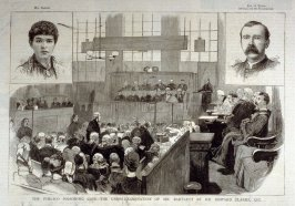 The Pimlico Poisoning Case - the Cross Examination of Mr. Bartlett by Mr. Edward Clarke, Q.C.  from Harper's Weekly, (April 17, 1886), p. 413