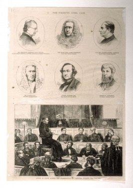 The O'Keeffe Libel Case, Portraits of Six Men and Scene in Court during the examination of Cardinal (Paul) Cullen - From Harper's Weekly (July 5, 1873)