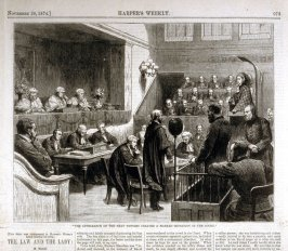 The appearance of the next witness created a marked sensation in the Court - from Harper's Weekly, (November 28. 1874), p. 973
