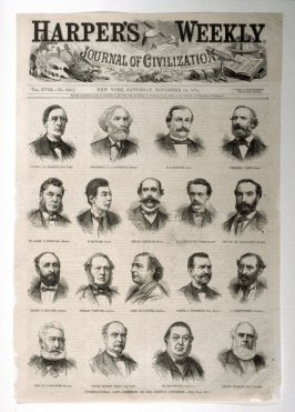 International Law - Members of the Geneva Congress - from Harper's Weekly, (November 14. 1874), cover sheet and p. 942