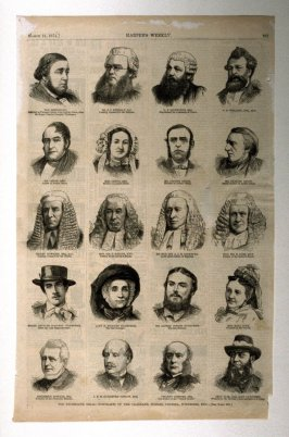 The Tichborne Trial Portraits of the witnesses, judges, counsel, etc. - from Harper's Weekly, ( March 21, 1874), p. 261