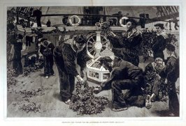 "Decorating the ""Victory""for the Anniversary of Nelson's death - from Harper's Weekly, (November 18. 1876), pp. 942-3"