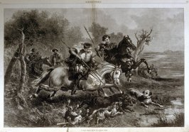 A wild boar hunt in olden time - from Harper's Weekly, (October 10, 1874), pp. 836, 837