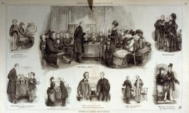 Sketches at a spelling bee in England, from Harper's Weekly Supplement, (March 25, 1876)