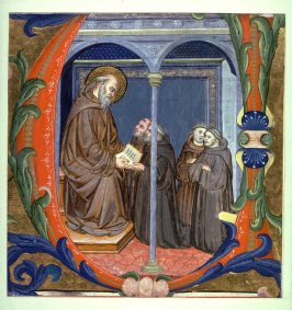 U with St. Benedict Giving the Rule to His Order, a fragment of a page from an unidentified manuscript