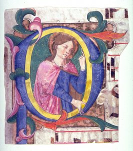 P with a Female Saint, a fragment of a page from an unidentifed antiphonal