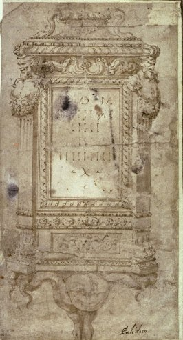 Design for a pilaster with antique Roman inscription