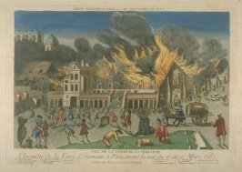Vue d'optique of the fire during the Foire St. Germain, Paris, 1762