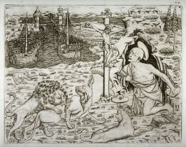 St. Jerome in Penitence with Two Ships in a Harbor