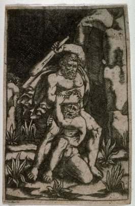 Hercules wrestling with the Giant Antaeus, from a series The Labors of Hercules