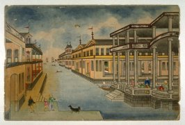 [european houses built over water; family with dog in the foreground]