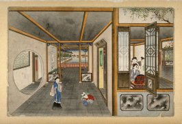 [interior of a house, woman attended by two servants at right]