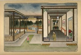 [interior of a house, looking out over a small pond and a bamboo forest]