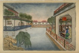 [houses looking out over water, woman fishing at left]