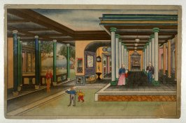 [interior of a house with six figures, seen from the courtyard]