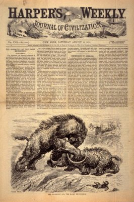 The Mammoth and the Hairy Rhinoceros, Title page from Harper's Weekly, (23 August 1873)